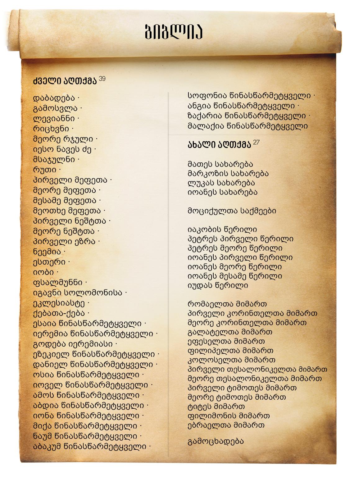 ბიბლიის წიგნები სია